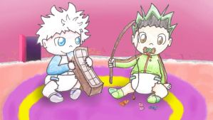 Requested- Baby Gon and Killua by MiniDragonfly