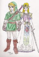 New Link and Zelda by Lady-of-Link