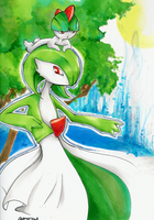 Ralts and Gardevoir by dai-iki