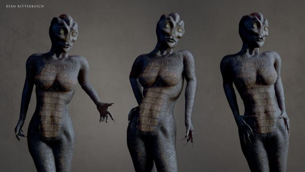 Female Reptilian Character by RyanRitterbusch
