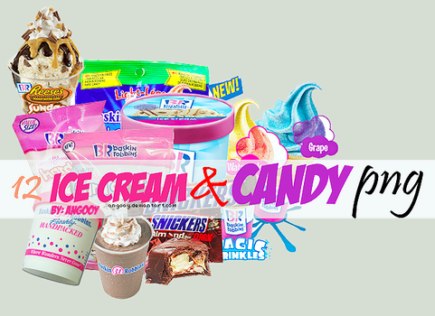 12 ice cream and candy png's by ANGOOY