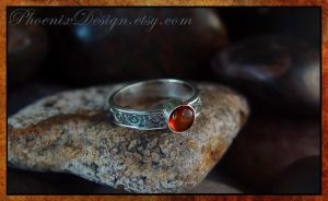 Embossed Ring with Dark Patina - Amber Cabochon by StephaniePride