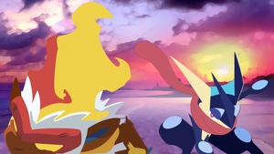 Greninja-vs-Infernape-Sunset-2 by DrewJayJohnson