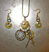 Keeping Time Necklace/Earring Set by Key-Kingdom