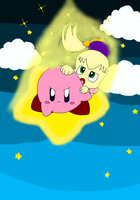 Kirby and Fumu on a warpstar by Kirby-4-ever