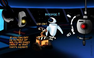 Outtakes IX: GLaDOS and Wall-E by lia-a-eastwood