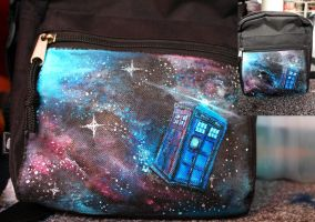 Hand Painted Tardis Bag by Kloofcat
