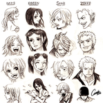 One Piece characters exercise by CameoStoique