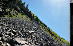 Angeled Perspective of Mountain Rock Slide by DamselStock