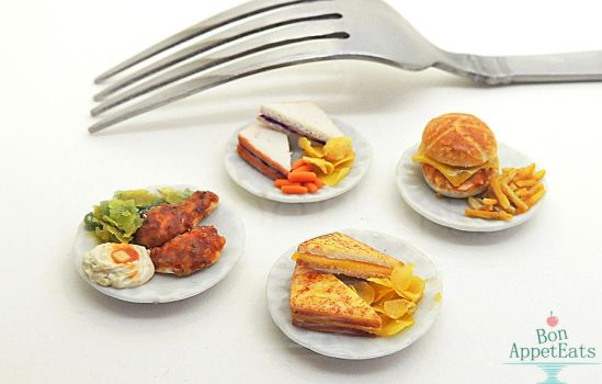 1:12 Food on Ceramic Plates by Bon-AppetEats