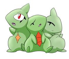 Three Larvitar by Apricotil