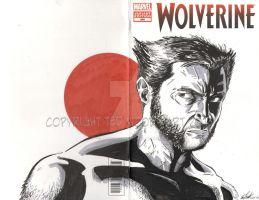 Hugh Jackman Wolverine Sketch cover by tedwoodsart