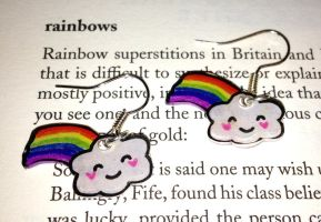 Kawaii Rainbow Cloud Earrings by Lovelyruthie