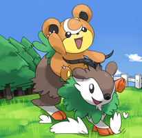 Skiddo and teddiursa by PinkGermy