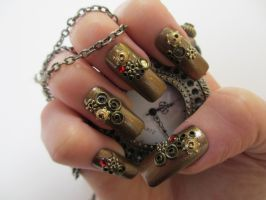 Steampunk Nails (Now Available) by JofoKitty