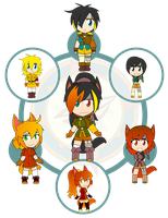 Assorted Chibis - AU Hexafusion 10 by Dragon-FangX