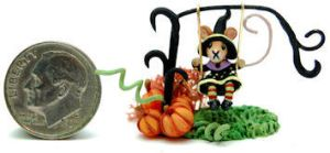MOUSE PUMPKIN SWING TOY by WEE-OOAK-MINIATURES
