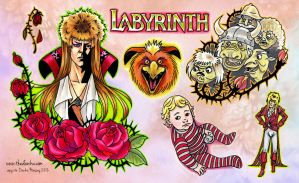 Labyrinth Sara and Jareth Tattoo Flash by thedanika