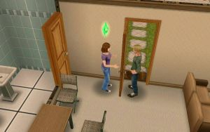 two sims.....talking through a door. by SilverNeko1