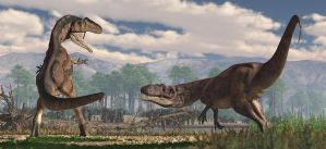 Saurophaganax and Epanterias by PaleoGuy