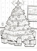 holiday coloring book page 1 by lagatowolfwood