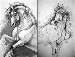 Sketchbook: Horses by TheUrbanFox