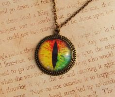 Rainbow Dragon Eye Necklace by FusedElegance