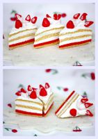 Fancy Strawberry Cream Cake by kiwitee