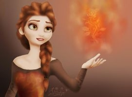 Elsa on fire by Toffisafee