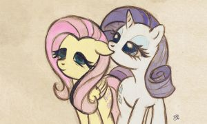 Fluttershy and Rarity by Mdani95