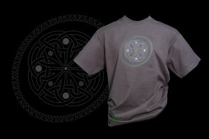 Celtic Knotwork Roundel on Charcoal Adult T-shirt by FancyTogs
