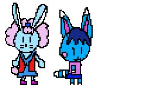 Rosie and Amber 8-bit style by carmenramcat