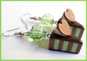 Mint and Choco Cake Earrings by cherryboop