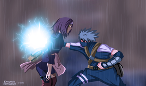 Kakashi and Rin by kvequiso