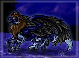 Demris, the flying Wolf by DamienMuerte
