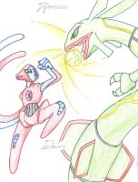 Deoxys vs. Rayquaza by Angel-Wing101