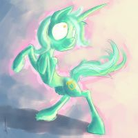 A happy mint horse by Manearion