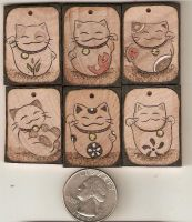 Lucky Cat Wooden Pendants by Aliehs