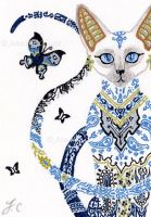 SOLD - ACEO Egyptian Porcelain Cat by JenniferAnneEsposito