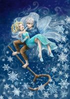 Like an icy blast_ Jack Frost and Elsa by LaDyRvE