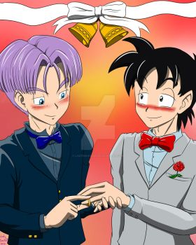 Thanos6 comission - Goten and Trunks married by LadyDrasami