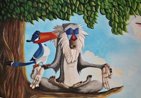 Rafiki and Zazu disney mural by Bonniemarie