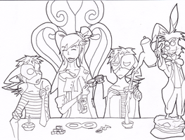 LineArt: Mad Tea Time by InsaneMonkey46