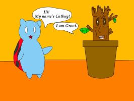 Catbug meets Groot by jlj16