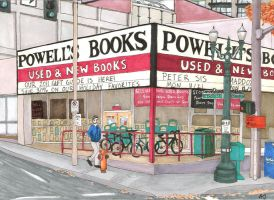 Powell's Books -- Postcard by Pointy-Eared-Fiend