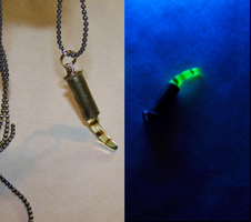 Uranium Glass Black Light Bullet Pendant by mymysticgems