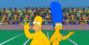 Marge and Homer at the football game by HomerJySimpson