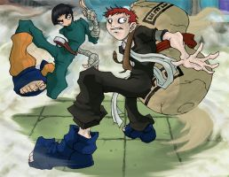 Gaara vs Rock lee by svenstoffels