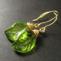 Green Leaf Wire Wrap Earrings by Gilliauna