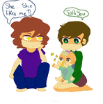 Two men and a baby by spidersarecoming